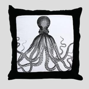 vintage kraken octopus sea creature m Throw Pillow