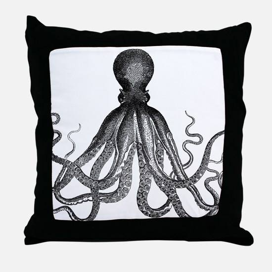 vintage kraken octopus sea creature m Throw Pillow