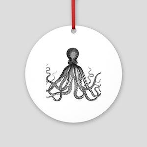 vintage kraken octopus sea creature Round Ornament