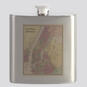 Vintage Map of NYC and Brooklyn (1868)  Flask