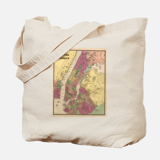 Vintage Map of NYC and Brooklyn (1868)  Tote Bag