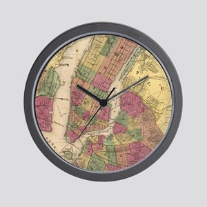Vintage Map of NYC and Brooklyn (1868)  Wall Clock