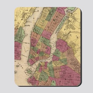 Vintage Map of NYC and Brooklyn (1868)  Mousepad