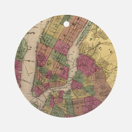 Vintage Map of NYC and Brooklyn (18 Round Ornament