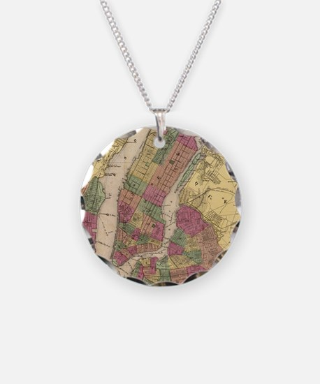 Vintage Map of NYC and Brook Necklace