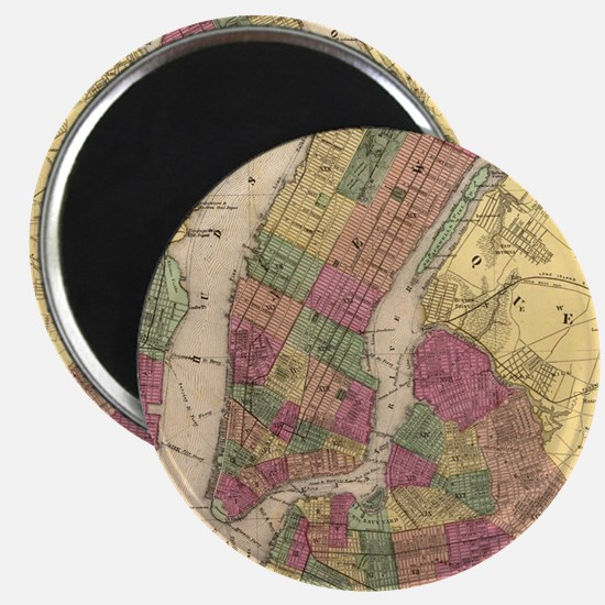 Vintage Map of NYC and Brooklyn (1868)  Magnet