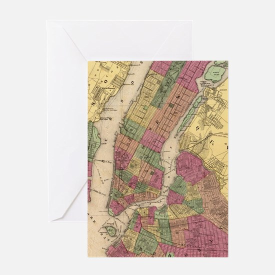 Vintage Map of NYC and Brooklyn (186 Greeting Card