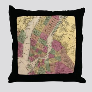 Vintage Map of NYC and Brooklyn (1868 Throw Pillow