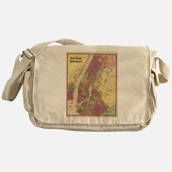 Vintage Map of NYC and Brooklyn (186 Messenger Bag
