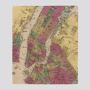 Vintage Map of NYC and Brooklyn (186 Throw Blanket