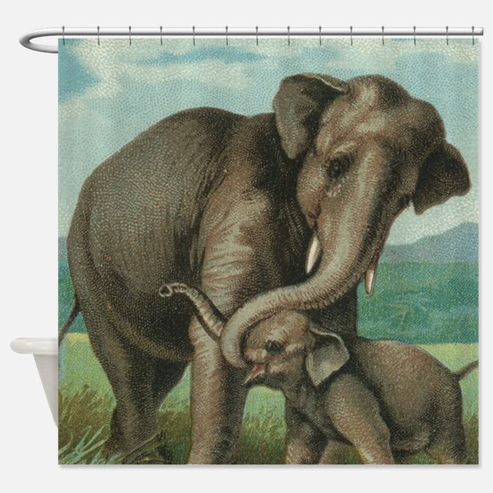 vintage elephant baby elephants cut Shower Curtain