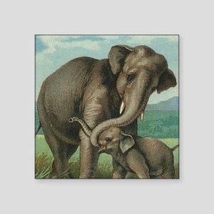 "vintage elephant baby eleph Square Sticker 3"" x 3"""