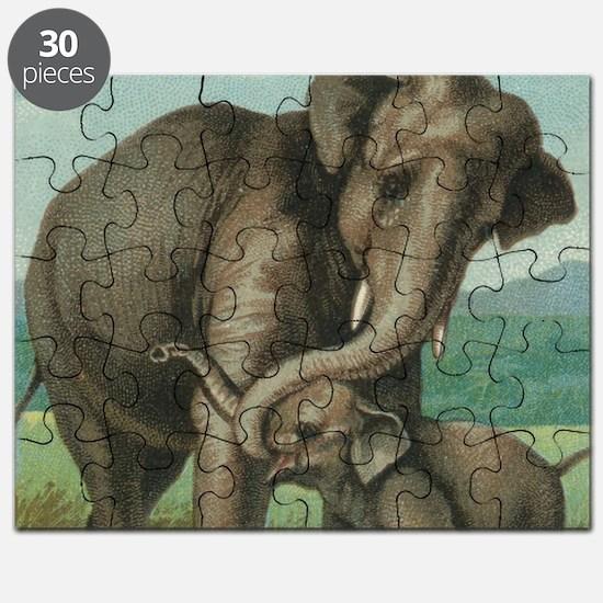 vintage elephant baby elephants cute mother Puzzle