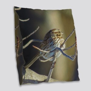 Sparrow Burlap Throw Pillow