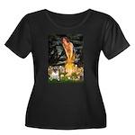 Fairies & Pug Women's Plus Size Scoop Neck Dark T-