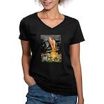 Fairies & Pug Women's V-Neck Dark T-Shirt