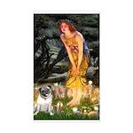 Fairies & Pug Sticker (Rectangle)