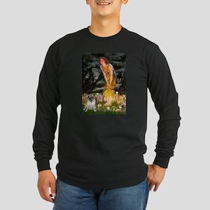 Fairies & Pug Long Sleeve Dark T-Shirt