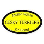 Spoiled Cesky Terriers On Board Oval Sticker