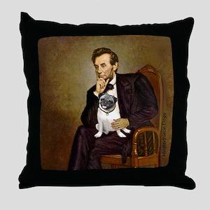 Lincoln's Pug Throw Pillow