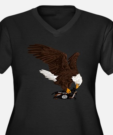 Eagle Crushe Women's Plus Size V-Neck Dark T-Shirt