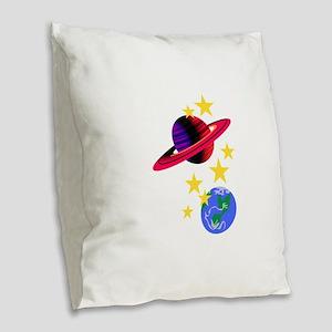 Outer Space Burlap Throw Pillow
