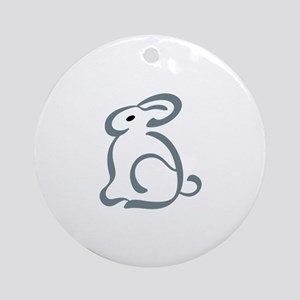 Outline Bunny Ornament (Round)