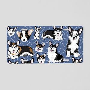 Corgi Dogs (Blue Bones) Aluminum License Plate