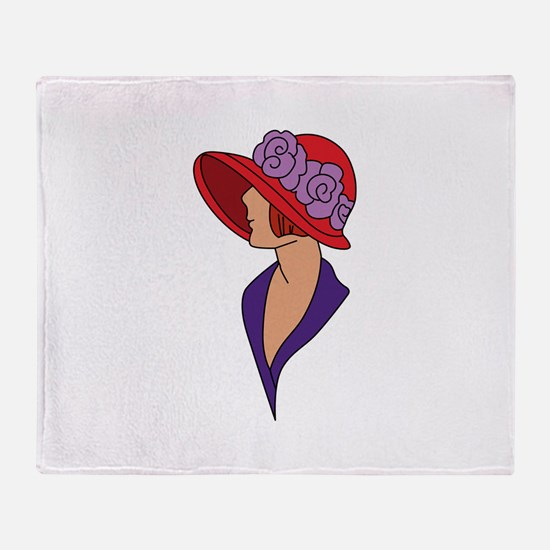 Lady In Hat Throw Blanket
