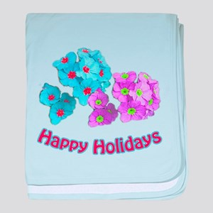 Blue and pink garden flowers happy ho baby blanket