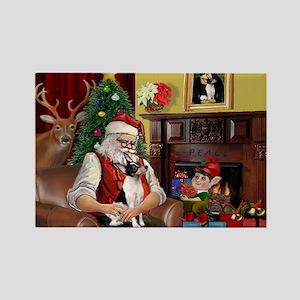 Santa & Toy Fox Terrier Rectangle Magnet