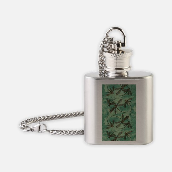 Dragonfly Flit Myrtle Green Flask Necklace