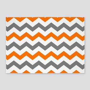 Gray and Orange Chevron Pattern 5'x7'Area Rug