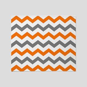 Gray and Orange Chevron Pattern Throw Blanket