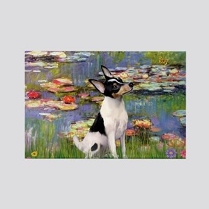 Lilies & Toy Fox Terier Rectangle Magnet