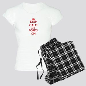 Keep Calm and Forks ON Women's Light Pajamas