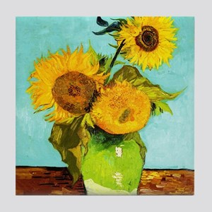 Vincent Van Gogh Three Sunflowers In Tile Coaster