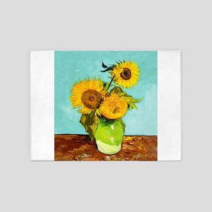 Vincent Van Gogh Three Sunflowers I 5'x7'Area Rug