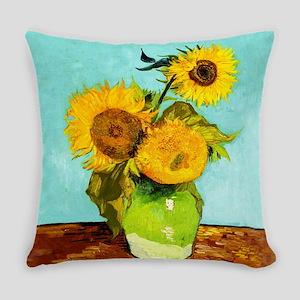 Vincent Van Gogh Three Sunflowers Everyday Pillow