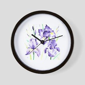 Watercolor Abstract Iris Pattern Wall Clock