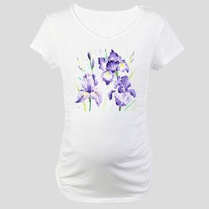 Watercolor Abstract Iris Pattern Maternity T-Shirt