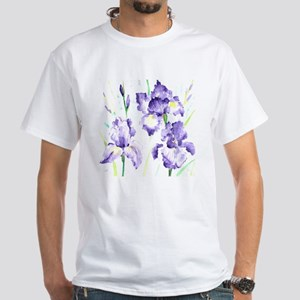 Watercolor Abstract Iris Pattern White T-Shirt