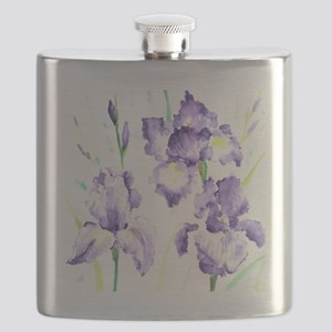 Watercolor Abstract Iris Pattern Flask
