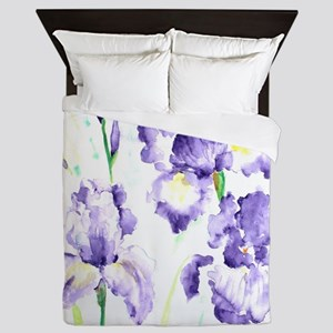Watercolor Abstract Iris Pattern Queen Duvet