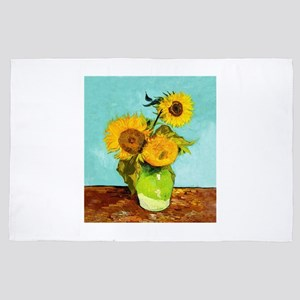 Vincent Van Gogh Three Sunflowers In A 4' x 6' Rug