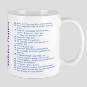 NCIS Gibbs Rules Purple Rainbow Text Mugs