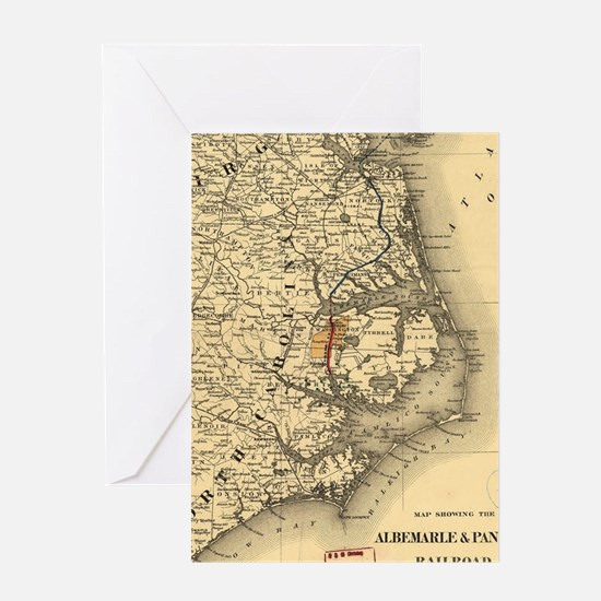 Vintage Map of The North Carolina Co Greeting Card