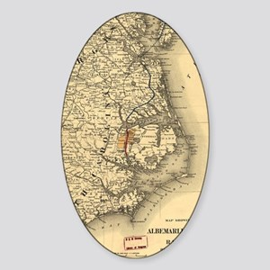 Vintage Map of The North Carolina C Sticker (Oval)