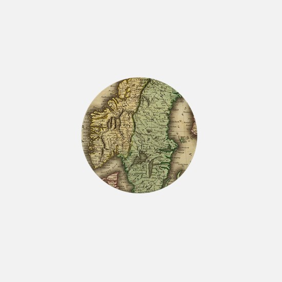 Vintage Map of Norway and Sweden (1831 Mini Button