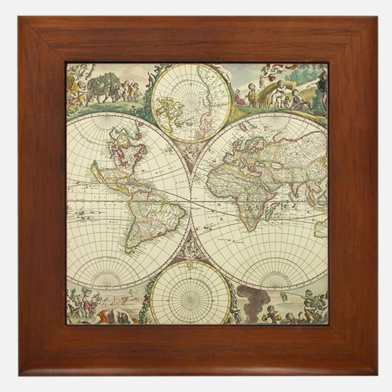 Vintage Map of The World (1680) Framed Tile
